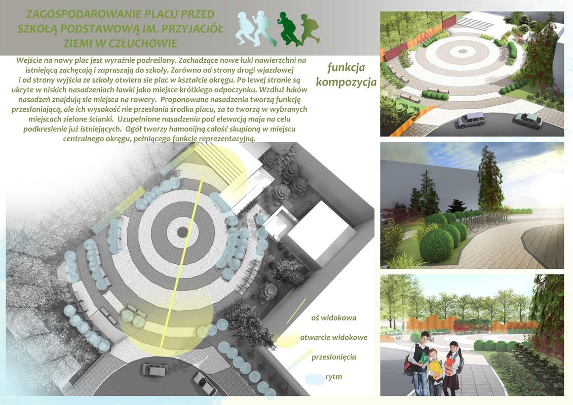 Projekt zagospodarowania placu przy szkole w Człuchowie